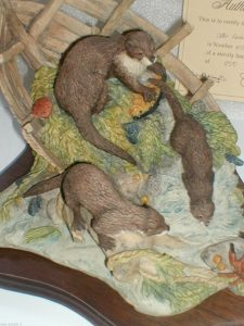 Original, Very Rare, Old, Border Fine Arts, Limited Edition, OTTER FAMILY,1984